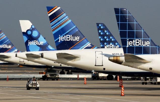 今天JetBlue的股票上涨