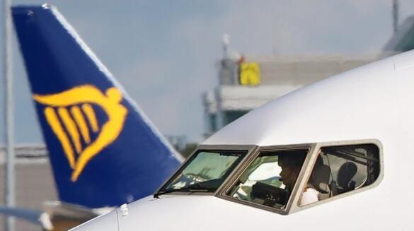 瑞安航空上个月的乘客人数下降了91%